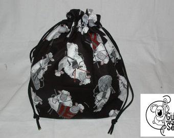 Knitting / Crochet Drawstring Project Bag. Knitting Sheep Print. Choose the interior color!