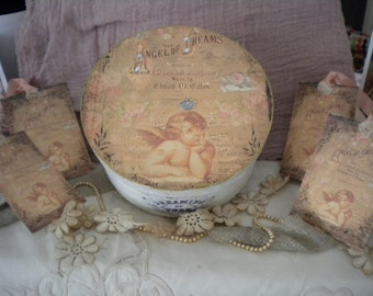 "Shabby Chic Paper Mache Decorative Box ""Angel of Dreams"""