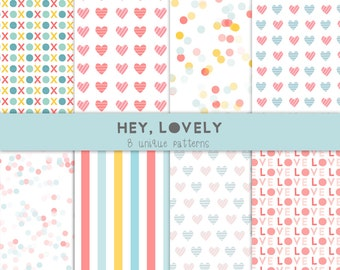 8 patterned backgrounds,  valentine's day digital paper, love hearts pattern
