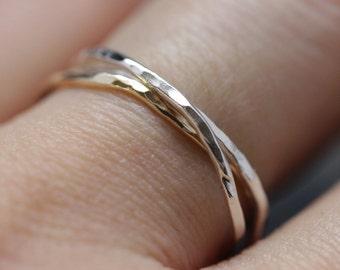 14 k gold filled + 925 ss interlocking ring