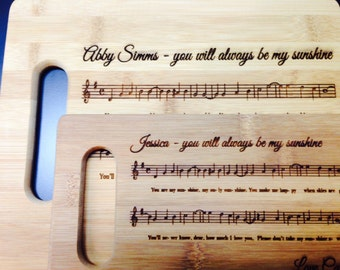 Beautiful Custom Bamboo Cutting Board - You Are My Sunshine - Price includes shipping