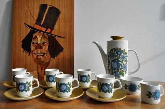 Vintage Mid Century 1960s J & G Meakin Coffee Set - Topic design by Alan Rogers 1967 - 15 pcs plus box