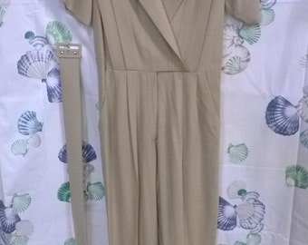SALE- 80s Raw Silk Tan Jumpsuit, Vintage, Great Quality, Act I , Size 3/4