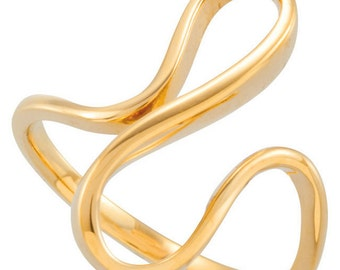 14K Yellow Gold Contemporary Freeform Ring 18mmx12mm Custom Made Size 5 to 10 CKL5139.6222.P