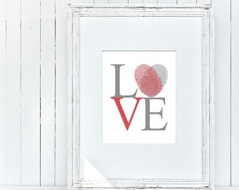 LOVE PRINT: Love with fingerprint - DIN A4 - digital typography print - wall sign - wp_101