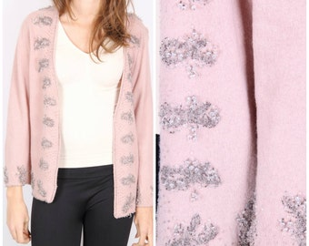 Vintage dirty pink with beads, sequins, pink angora wool cardigan winter / size L