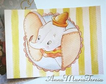 Dumbo - Handpainted postcard.