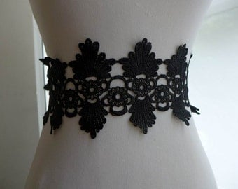 Black lace trim with scalloped design for sashes, bridal dress, appliques, costumes design
