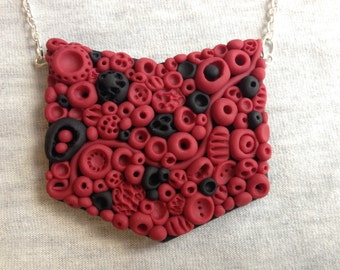 Polymer clay red and black statement doodle necklace