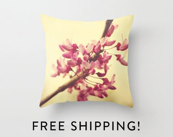 Photo Pillow - Redbud Blooms  - Pillow Cover - Home Decor - Nature - Spring - Flowers - Macro - tree - Pink - yellow
