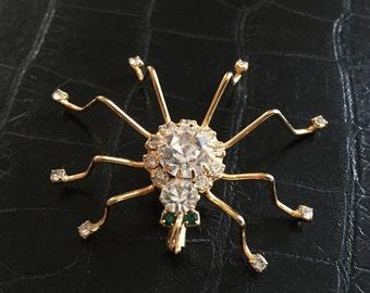 Vintage Spider Brooch with Rhinestones