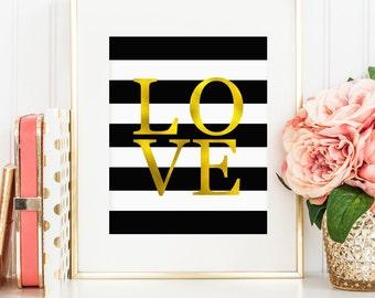Faux gold foil LOVE, printable wall art decor, black and white stripes, art for office, art for home (Instant digital download - JPG)