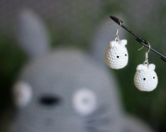 Chibi-Totoro earrings crocheted Mercerized cotton
