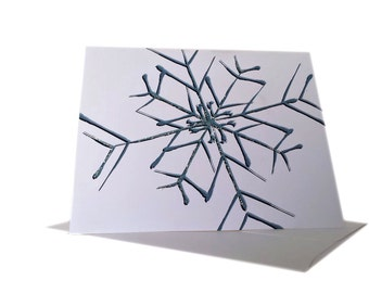 Printable Snowflake Holiday Greeting Card - Merry Christmas - Instant Download