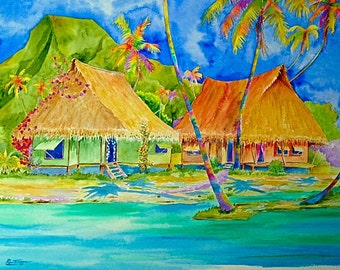 Tahiti Village - Watercolor on canvas