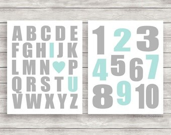 Aqua and Grey Printable Nursery Art, DIY Instant Download Files, Kids Printable Alphabet I Love You and Numbers Set, Children's Posters 8x10