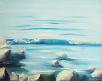 Seascape painting beach lake Original oil painting, tranquil water, oil on canvas, 20*16 inches rocks fine art by Nadia Gurkova