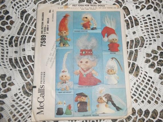 Illa Trol: Vintage 60s Sewing Pattern McCalls Troll Dolls Clothes Sewing