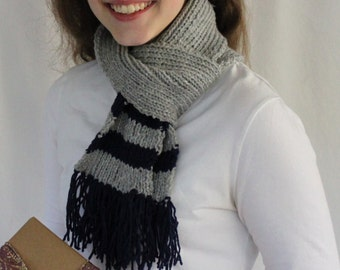 ON SALE Hand Knit Gray Winter Scarf with Navy Blue Stripes