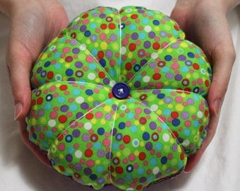 Mother's Day Gift, Gift for Mom, Jumbo Pin Cushion ~ Large Polka Dot Pincushion ~ Extra Large Lime and Purple Pin Cushion ~ Felt Pincushion