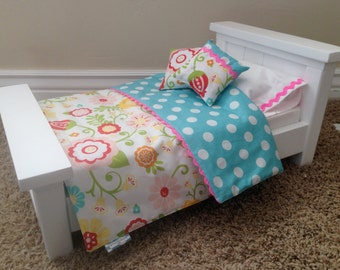 American Girl Furniture, Twin Farmhouse doll bed with mattress - Made to Order