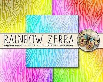 Zebra Digital Paper, Rainbow Zebra Print, Animal Print, Zebra Watercolor Paper, Zebra Paper, Soft Watercolor Zebra, Zebra Printable Paper
