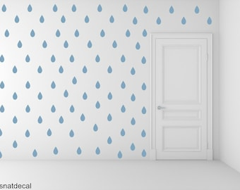 FREE SHIPPING Wall Decal Rain Drops Blue Color. Each Kit 168. Nursery Wall Decal. Home Decor. Vinyl Wall Decal Wall Sticker. Wall Art