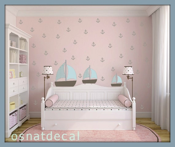 FREE SHIPPING Wall Decal 71 Anchors With 3 Boats Home Decor Nursery Wall Sticker Color  Pastel Gray Blue And Blue Pastel