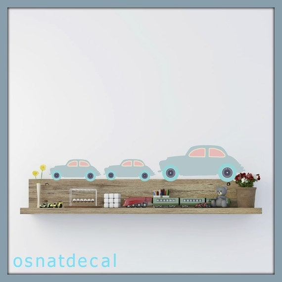 FREE SHIPPING Wall Decal 3 Big Retro Cars &4 Small Cars. Pastel Color. Nursery Wall Decal. Diy, Wall Art, Vinyl Wall Decal