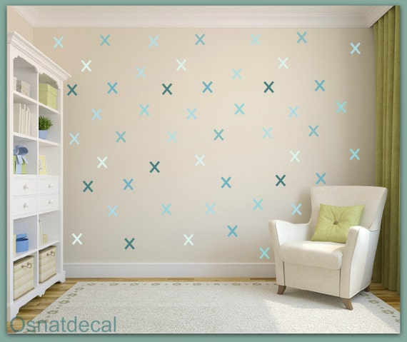 FREE SHIPPING Wall Decal X Shades Blue Color. Nursery Wall Decal. Kids Wall Decal. Vinyl Wall Decal. Home Decor.