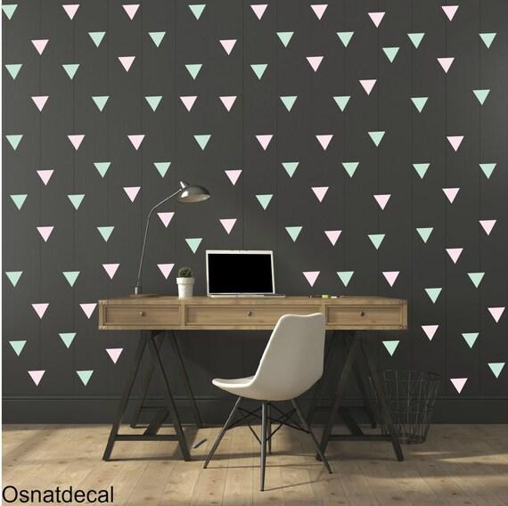 FREE SHIPPING Wall Decal Triangle Mint  & Pink , Each Kit 238. Wall Sticker. Nursery Wall Art.Geometric Wall Decal Kids Wall Decal