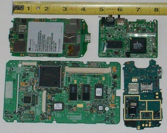 TABLET and CELL PHONE Circuit Boards Motherboards (1 tablet and 3 cell phones) eScrap, techie, steampunk, geek, jewelry, craft, art supplies