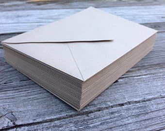 50 Paper Bag Kraft A7 5x7 Invitation or A1 (4Bar) RSVP Pointed Flap Envelopes - Paper Source Envelope