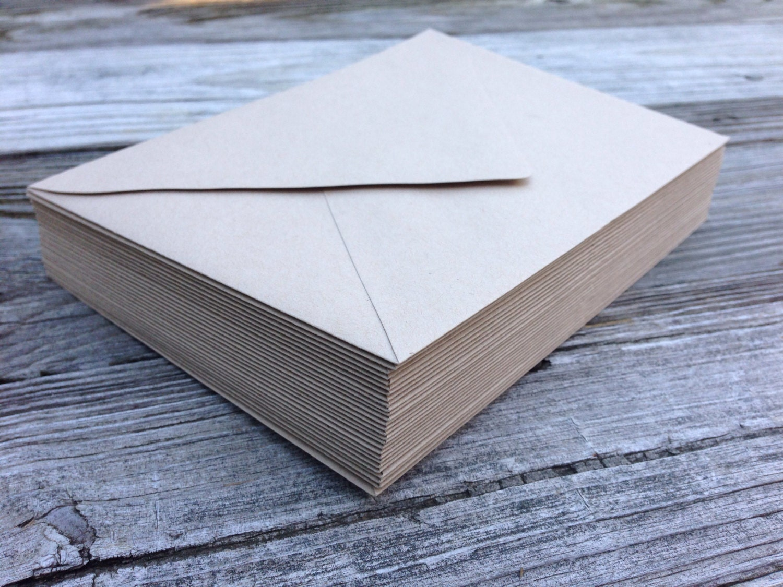 50 Paper Bag Kraft A7 5x7 Invitation Or A1 4bar Rsvp Pointed