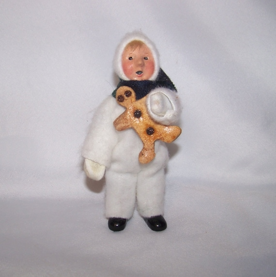 Vintage 1987 Buyers Choice Carolers Boy Girl Christmas: 1992 Byers Choice Caroler Child In White Snowsuit With By
