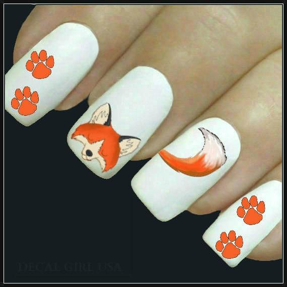 Fox Nail Designs: Animal Nail Decal Fox Nail Art 20 Water Slide Decals
