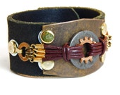 Leather Steampunk Cuff Bracelet Deiselpunk Accessory Industrial Jewelry Recycled Hardware Mad Max Costume Mens Cosplay Festival Tribal