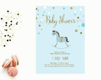 Word Template baby shower Invitation | Editable Word Template | Printable | Instant download | blue and gold | rocking horse