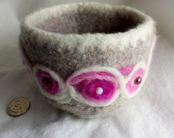 Grey, Pink and White Folk Art Felted Bowl