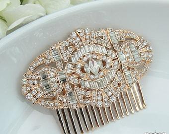 Rose Gold Art Deco Bridal Comb, Rhinestone Comb, Bridal Comb Crystal, Wedding Crystal Hair Comb, Wedding Accessory, Headpiece 206549022
