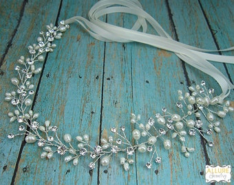 Wedding Hair Vine, Bridal Wedding Headpiece Vine, Flexible Vine Handwired Crystal Hair Piece, Wedding Hair Accessories, Hair Vine 207993970