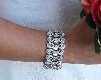 Bridal bracelet, rhinestone wedding bracelet, crystal bracelet, bridal jewelry, wedding accessories, bridesmaid bracelet,  208897849