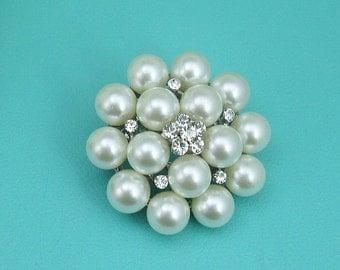 Rhinestone Flower Pearl Cluster Brooch, Wedding Brooch, Bridal Brooch, wedding brooches, wedding dress pin, bridal dress brooch
