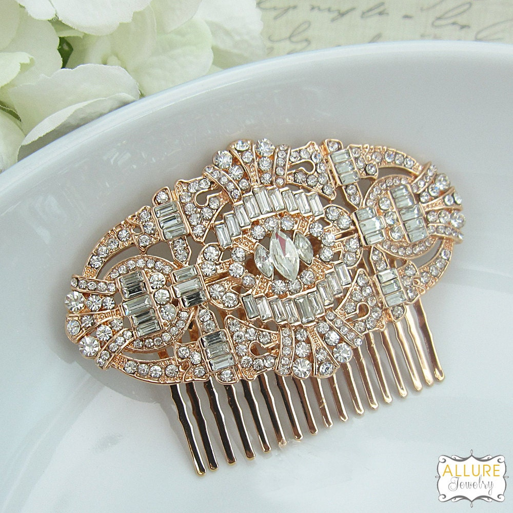 Rose gold art deco bridal comb rhinestone comb bridal comb for Deco maison rose gold