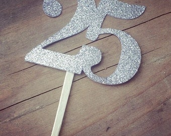 Number Cupcake Toppers Silver