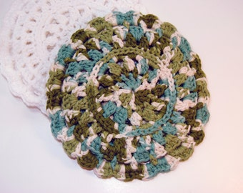 Dark Green and Blue Crocheted Cotton Trivet