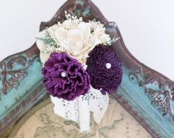 Sola Flower Corsage, Ivory, Purple, Pin Corsage, Wedding Corsage