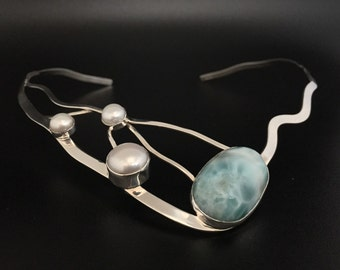 """Silver Larimar Necklace with Pearl Accents // 925 Sterling Silver // 16"""" Inches"""
