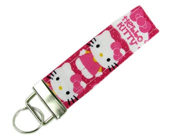 Personalized Fabric Key Chain / Key Fob Hello Kitty With Optional Initials