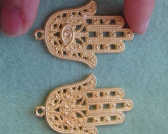 10 large hamsa hand charm pendant gold coloured  double sided charm wholesale